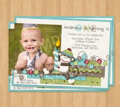 Boys first birthday invites 1st birthday monkey birthday boys monkey birthday invite babys 1st birthday party invitation with photo printable digital custom boy blue baby first filmwisefo Image collections
