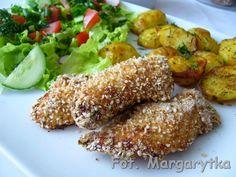 Kęski kurczaka w sezamowo - orkiszowej panierce