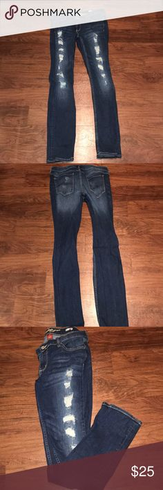 Sz13 Distressed Arizona Jeans Super Skinny EUC EUC - worn once! - too skinny for me Size 13 Distressed jeans with holes (came that way) Arizona Jean brand Smoke and pet free home  Make me an offer!  *jeans in cover pic are same style but different rinse. The jeans for sale are a darker rinse as seen in my pics. Arizona Jean Company Jeans Skinny