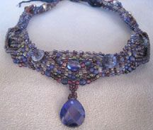 Beaded Floating Gypsy Ribbon Necklace Pattern by Barbara Ellis at Bead-Patterns.com