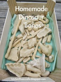 Kitchen Floor Crafts: Homemade Dinosaur Bones. Use for a treasure hunt or dinosaur bone dig. Fun activity for a dinosaur birthday party. Great as party decor/decorations