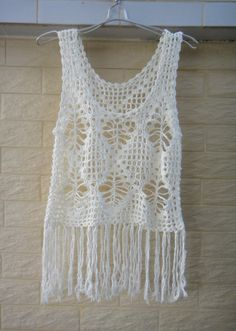 Fringed Tank Women Crochet Vest Hippie by Tinacrochetstudio