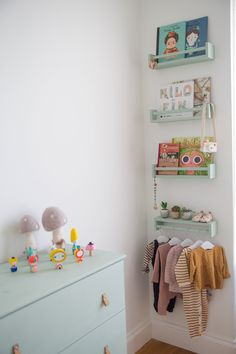 First-Time Home Buyers Tackle a Apartment Reno seafoam green 4 stacked bottom upside-down clothes rod The post First-Time Home Buyers Tackle a Apartment Reno appeared first on Babyzimmer ideen. Baby Bedroom, Baby Room Decor, Nursery Room, Girls Bedroom, Ikea Nursery, Playroom Decor, Ikea Bedroom, Bedroom Furniture, Colorful Playroom