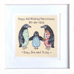 Penguin family framed wall art picture gift Personalised