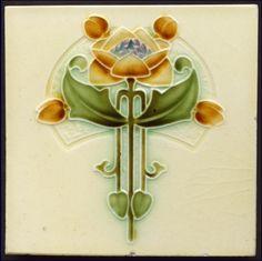 Art Nouveau Majolica Tile - Date: 1911 (registered)