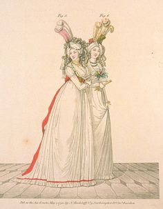 Gallery of Fashion, Figures 5 and 6, May 1794. Feathers and Medusa hair- I love this look.