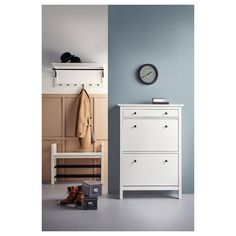 "HEMNES Bench with shoe storage, white, 33 1/2x12 5/8"" - IKEA Shoe Storage White, Bench With Shoe Storage, Tall Cabinet Storage, Coat Storage, Ikea Hemnes Shoe Cabinet, Put On Your Shoes, White Bench, Clothes Rail, Floor Space"
