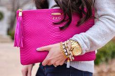 GiGi New York | The Sweetest Thing Fashion Blog | Magenta Uber Clutch