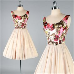 '1950s Nude Chiffon Floral Brocade Dress'