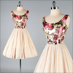Vintage 1950s Nude Chiffon Floral Brocade Dress  #floral #dress #1950s #partydress #vintage #frock #retro #sundress #floralprint #petticoat #romantic #feminine #fashion