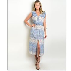 🎉Host Pick🎉 Light Blue Floral Midi Dress 🎉Host Pick-Spring Style🎉 Perfect summer dress! This lightweight midi dress has a daring front slit and a boho chic vibe. It is made of 100% rayon and comes in small, medium, and large. The dress measures 48 inches long. Boutique Dresses Midi