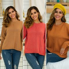#WomenJumpers #BestWomenJumpers #NewLadiesJumpers #LatestStyleJumpers #LadiesJumpersUK Jumpers For Women, Sweaters For Women, Loose Sweater, Different Styles, Knitwear, Tunic Tops, Pullover, Clothes For Women, Long Sleeve