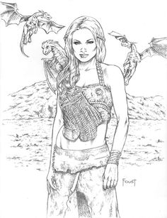 Daenerys By MitchFoust On DeviantArt Dragon Girl Coloring PagesColoring BooksAdult ColoringColouringPrintable