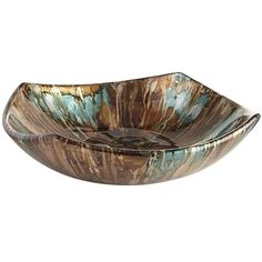 Upturned corners and striations of hand-painted foil turn a simple square ceramic bowl into something spectacular. (Note to self: Wardrobe update idea?)