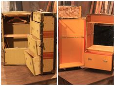Before and After pics. Before this old steamer trunk was beat up. Now it's a unique and cool mobile mini bar!