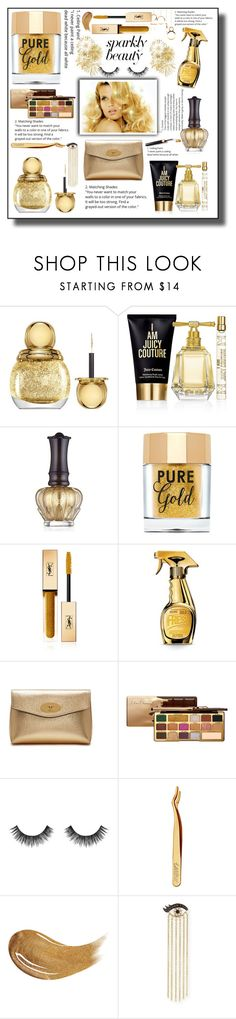 """""""#PolyPresents: Sparkly Beauty"""" by aura-helena ❤ liked on Polyvore featuring beauty, Christian Dior, Juicy Couture, Anna Sui, Too Faced Cosmetics, Yves Saint Laurent, Consuelo, Moschino, Mulberry and Velour Lashes"""