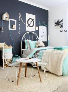 Kids Bedrooms - Grey and Mint girls bedroom www.fourcheekymonkeys.com | room decor ideas | children's bedrooms