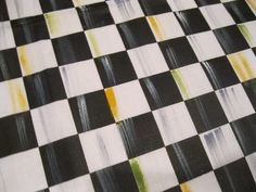 I wanted to make a table runner, so I purchased some black and white checked fabric ( of course )…. and added a bit of color to the . Mackenzie Childs Inspired, Mckenzie And Childs, Decoupage, Make A Table, Home Fix, Paint Furniture, Furniture Makeover, Furniture Ideas, Painted Chairs