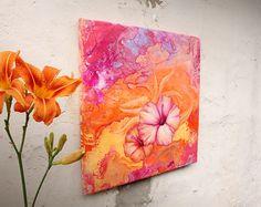 "Wanddeko - Acrylmalerei ""Hibiskusblüte"" Leinwandbild - ein Designerstück von ngmSTYLE bei DaWanda"