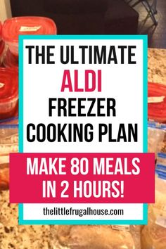 The ultimate freezer cooking plan using mostly Aldi ingredients. Make 80 meals in 2 hours to be prepared for those crazy busy nights! This Aldi freezer cooking plan will help you get your freezer stocked with easy freezer meals. Chicken Freezer Meals, Freezable Meals, Budget Freezer Meals, Slow Cooker Freezer Meals, Make Ahead Freezer Meals, Dump Meals, Freezer Cooking, Frugal Meals, Freezer Recipes