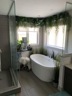 Wife made a little retreat in the bathroom using dollar store plants. Wife made a little retreat in Jungle Bathroom, Cozy Bathroom, Bathroom Plants, Modern Bathroom, Master Bathroom, Zen Bathroom Decor, Bathroom Furniture, Bad Inspiration, Bathroom Inspiration