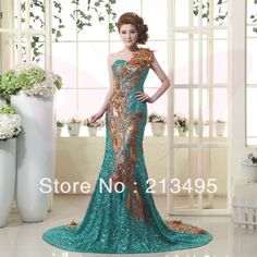 Green Sequin Formal Evening Gown