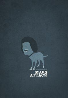 Tim Burton Minimalist Movie Poster ArtSeries - Mars Attacks! - GeekTyrant