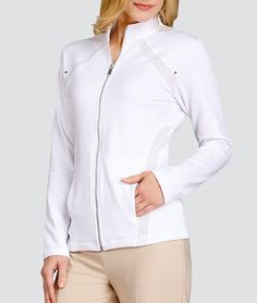 If you're in the market for some new outfits, consider our women's apparel! Shop this comfortable and stylish ESSENTIALS (White) Tail Ladies & Plus Size Gail Golf Jackets from Lori's Golf Shoppe.