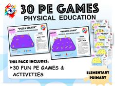 30 Fun Physical education Games and activities for teacher sport classroom lesson Pe Games Elementary, Elementary Teacher, Pe Activities, Physical Activities, Physical Education Lesson Plans, Pe Ideas, Fun Games For Kids, School Sports, Help Teaching