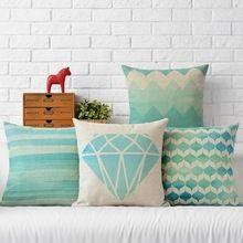 Nueva Cuadrado colorido casa Fundas de cojines textiles para el hogar decorativo suave asiento de coche de lino Verde Menta fresca diamante almohada N (412)(China (Mainland))