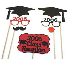 7 Piece Graduation Reunion Photo Booth Prop Collection. Pick your background color! (1 pair of glasses will also come  in selected color)  PLEASE LEAVE CLASS YEAR IN NOTES AT CHECKOUT!!!!  *All props will come attached to wooden dowels. *Please leave date of event at checkout. *All props made with quality heavy cardstock.   Check out WreathsbyKimbys brand new shop where you will find a variety of wreaths perfect for all occasions…