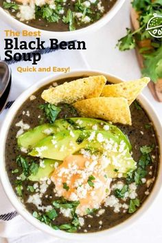 This tasty Black Bean Soup recipe is creamy, hearty and very satisfying. This vegetarian black bean soup is made with simple ingredients yet delivers lots of bold flavors. #recipe #soup #lemonblossoms #beans #healthy