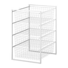 IKEA - ANTONIUS, Runko+ritiläkorit, Joustava järjestelmä, joka tarjoaa monia yhdistelmävaihtoehtoja; valitse tilaa ja tarpeitasi vastaava kokonaisuus.Runkoja voidaan pinota päällekkäin, jolloin ne kiinnitetään toisiinsa pakkauksessa olevilla kiinnikkeillä.Säädettävien jalkojen ansiosta seisoo tukevasti myös epätasaisella alustalla.