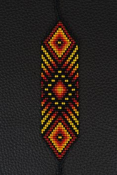Luminous Sun Bracelet Flame by myilumina on Etsy Seed Bead Patterns, Beaded Jewelry Patterns, Peyote Patterns, Bracelet Patterns, Beading Patterns, Beading Ideas, Beading Supplies, Embroidery Bracelets, Bead Loom Bracelets