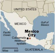 Cutzamala reservoir in Mexico