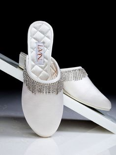 Luxe Me Now Cream Satin Eyelash Luxury Slippers Rhinestone Memory Foam 9.0 LMN #LuxeMeNow #SlipperShoes