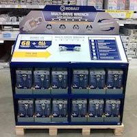 Kobalt wrench pallet display in Lowe's hardware store