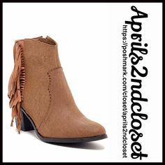 """BOHO FRINGE BOOTS Heeled Ankle Booties NEW WITH TAGS RETAIL PRIC: $95  BOHO FRINGE BOOTS Heeled Ankle Booties  * Side zip closure; Vegan faux suede leather  * Side fringe trim &scalloped vamp details  * Almond toe & chunky 3"""" high stacked heels  * Super soft faux shearling like lining  * Approx 4"""" high shaft & 9"""" opening  * True to size   MATERIAL: Manmade upper/sole, nylon lining  COLOR: Grey Taupe (looks light brown) ITEM #  No Trades ✅ Offers Considered*✅ *Please use the blue 'offer'…"""