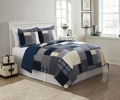 Blue and White Patchwork Plaid Bedding