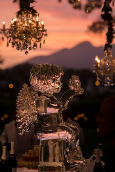YolanCris | News | Silvana and Tim's fairytale wedding romantic outdoor ice scuplture and chandelier decorations