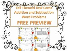 Looking for a fun way to review or practice solving addition and subtraction word problems with your students? You have found it.This is a preview and the first four task cards of my set of 16 fall themed task cards that are aligned to common core standards for grades 2 and 3.