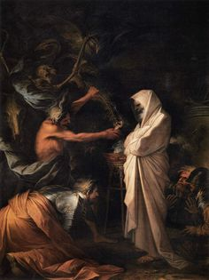 Salvator Rosa (Italian, Ghost of Samuel called before Saul by the witch of Endor, Musée du Louvre, Paris Witch Of Endor, Infinite Art, Les Fables, Louvre Paris, Art Ancien, Baroque Art, Italian Baroque, Arte Obscura, Arte Horror