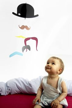 I will make this mobile. Oh yes.   And my future baby will have a mustache just. like. that.