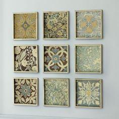 Blue Patchwork Prints -Set of 9 | Ballard Designs (use scrapbook paper)