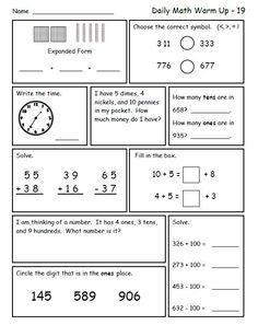 Printables 2nd Grade Math Review Worksheets places second grade math and place values on pinterest review great morning work for grade