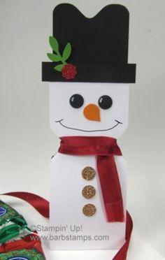 Peppermint Patty Snowman w/Envelope Punch Board