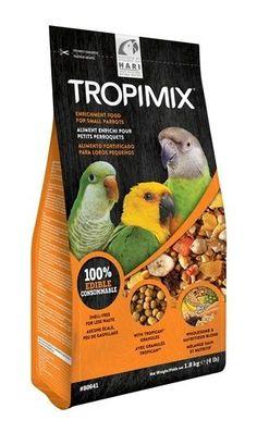Tropimix Formula Food for Small Parrots - 1.8 kg (4lb) Tropimix enrichment formula for Small Parrots is an appetizing food mix full of grains, fruits, nuts, legumes and extruded Tropican granules.