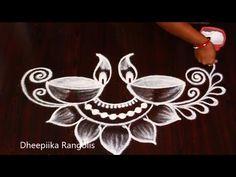 Easy Navratri Rangoli Designs | Dussehra Muggulu | Navratri Kolam | Diwali Rangoli2020 - YouTube Rangoli Designs Simple Diwali, Best Rangoli Design, Rangoli Designs Latest, Rangoli Designs Flower, Free Hand Rangoli Design, Rangoli Border Designs, Rangoli Designs With Dots, Rangoli With Dots, Kolam Designs