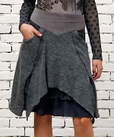 Look what I found on #zulily! Gray Raw-Edge Layered Skirt by Angels Never Die #zulilyfinds