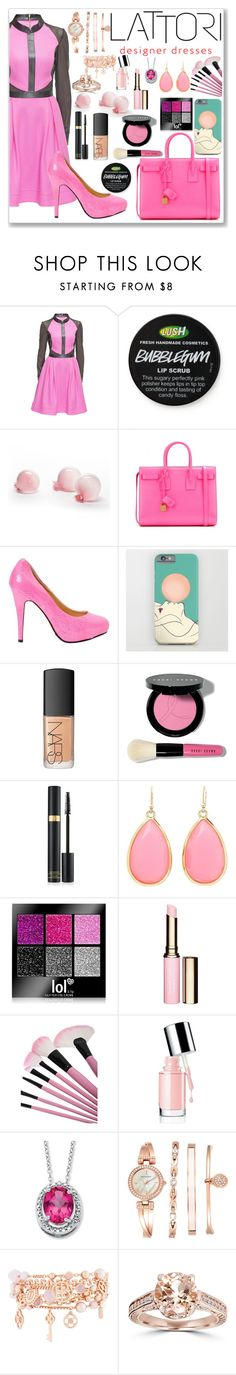 """Lattori Bubblegum Dress"" by aphrodite-shomaly ❤ liked on Polyvore featuring Lattori, Esque Studio, Yves Saint Laurent, NARS Cosmetics, Bobbi Brown Cosmetics, Tom Ford, Kate Spade, Clarins, Palm Beach Jewelry and Anne Klein"